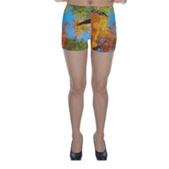 Colorful Leaves Sky Skinny Shorts by AnjaniArt