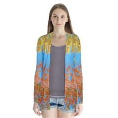 Colorful Leaves Sky Drape Collar Cardigan