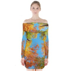 Colorful Leaves Sky Long Sleeve Off Shoulder Dress