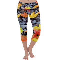 Colorful Leaves Stones Capri Yoga Leggings