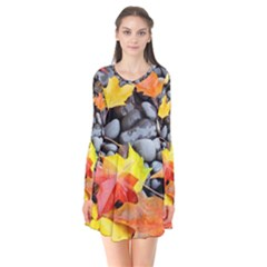 Colorful Leaves Stones Flare Dress