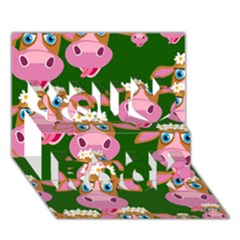 Cow Pattern You Rock 3d Greeting Card (7x5)