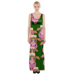 Cow Pattern Maxi Thigh Split Dress by AnjaniArt