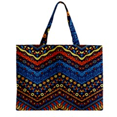 Cute Hand Drawn Ethnic Pattern Zipper Mini Tote Bag by AnjaniArt