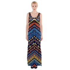 Cute Hand Drawn Ethnic Pattern Maxi Thigh Split Dress by AnjaniArt