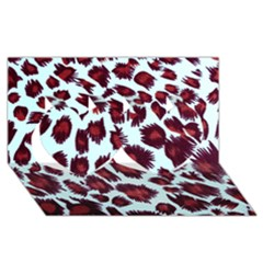 Jaguar Textile Background Twin Hearts 3d Greeting Card (8x4) by AnjaniArt