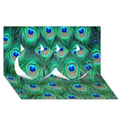 Peacock Feather Twin Hearts 3d Greeting Card (8x4)