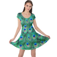 Peacock Feather Cap Sleeve Dresses