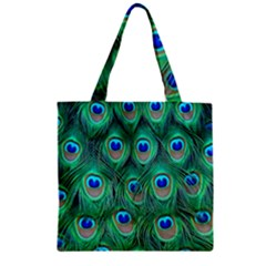 Peacock Feather Zipper Grocery Tote Bag