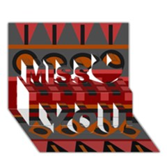 Red Aztec Miss You 3d Greeting Card (7x5)