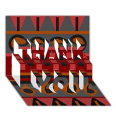 Red Aztec Thank You 3d Greeting Card (7x5) by AnjaniArt