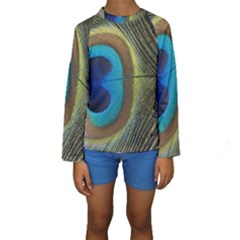 Single Peacock Kids  Long Sleeve Swimwear