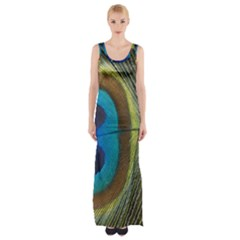 Single Peacock Maxi Thigh Split Dress by AnjaniArt