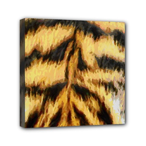 Tiger Fur Painting Mini Canvas 6  X 6  by AnjaniArt