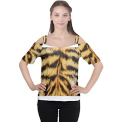 Tiger Fur Painting Women s Cutout Shoulder Tee