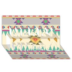Your First Aztec Pattern Merry Xmas 3d Greeting Card (8x4)