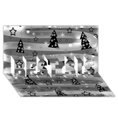 Gray Xmas Magic Best Sis 3d Greeting Card (8x4) by Valentinaart