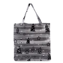 Gray Xmas Magic Grocery Tote Bag by Valentinaart