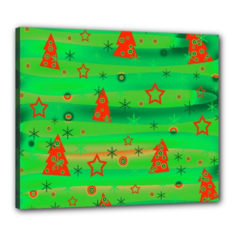 Green Xmas Magic Canvas 24  X 20  by Valentinaart