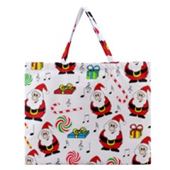 Xmas Song Zipper Large Tote Bag by Valentinaart