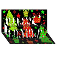 Merry Xmas Happy Birthday 3d Greeting Card (8x4) by Valentinaart