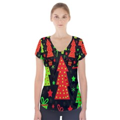 Merry Xmas Short Sleeve Front Detail Top by Valentinaart