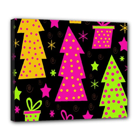 Colorful Xmas Deluxe Canvas 24  X 20   by Valentinaart