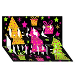 Colorful Xmas Best Wish 3d Greeting Card (8x4)
