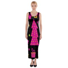 Colorful Xmas Fitted Maxi Dress by Valentinaart