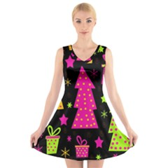 Colorful Xmas V Neck Sleeveless Skater Dress by Valentinaart