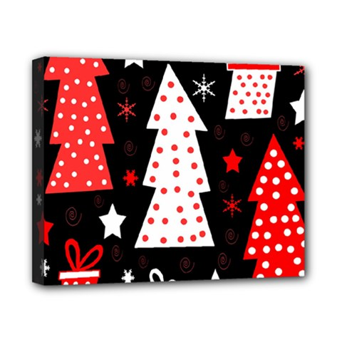 Red Playful Xmas Canvas 10  X 8  by Valentinaart