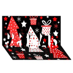 Red Playful Xmas #1 Dad 3d Greeting Card (8x4)