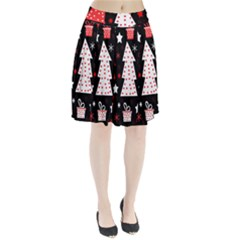 Red Playful Xmas Pleated Skirt by Valentinaart