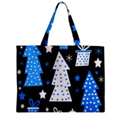 Blue Playful Xmas Zipper Mini Tote Bag by Valentinaart