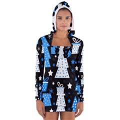 Blue Playful Xmas Women s Long Sleeve Hooded T Shirt by Valentinaart