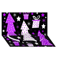Purple Playful Xmas Twin Heart Bottom 3d Greeting Card (8x4) by Valentinaart