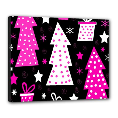Pink Playful Xmas Canvas 20  X 16  by Valentinaart