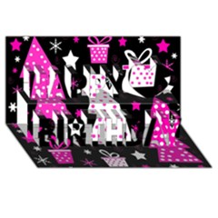 Pink Playful Xmas Happy Birthday 3d Greeting Card (8x4) by Valentinaart
