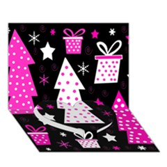 Pink Playful Xmas Heart Bottom 3d Greeting Card (7x5) by Valentinaart
