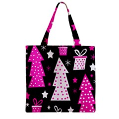 Pink Playful Xmas Zipper Grocery Tote Bag by Valentinaart