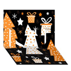 Orange Playful Xmas I Love You 3d Greeting Card (7x5) by Valentinaart