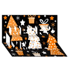 Orange Playful Xmas Merry Xmas 3d Greeting Card (8x4) by Valentinaart