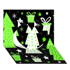 Green Playful Xmas Heart 3d Greeting Card (7x5)