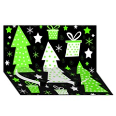 Green Playful Xmas Twin Heart Bottom 3d Greeting Card (8x4) by Valentinaart