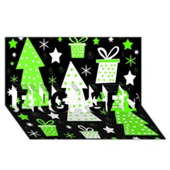 Green Playful Xmas Engaged 3d Greeting Card (8x4) by Valentinaart