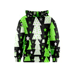 Green Playful Xmas Kids  Pullover Hoodie by Valentinaart