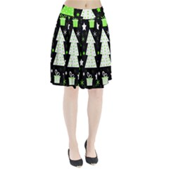 Green Playful Xmas Pleated Skirt by Valentinaart