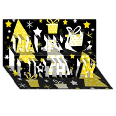 Yellow Playful Xmas Happy Birthday 3d Greeting Card (8x4) by Valentinaart