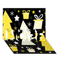 Yellow Playful Xmas Hope 3d Greeting Card (7x5) by Valentinaart