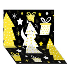 Yellow Playful Xmas Ribbon 3d Greeting Card (7x5) by Valentinaart